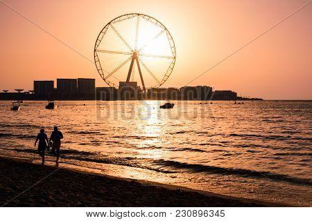 Ain Dubai Ferris Wheel At Jbr Beach At Sunset