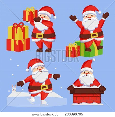 Santa Clauses Set Of Icons. Saint Nicholas With Wish Gift Boxes Wishes Merry Xmas, Father Christmas