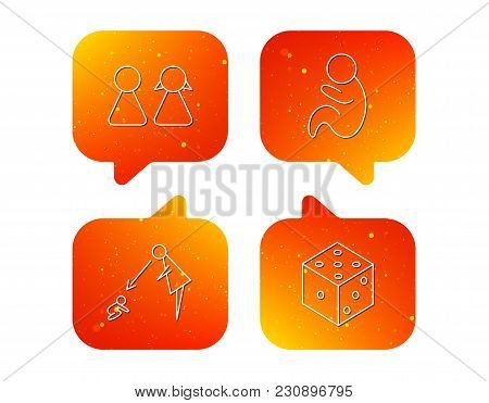 Couple, Paediatrics And Dice Icons. Under Supervision Linear Sign. Orange Speech Bubbles With Icons