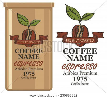 A Tin Can With Label For Coffee Beans. Vector Label For Coffee With Coffee Bean And Inscription And