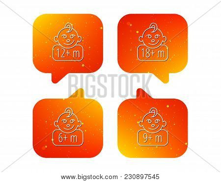 Infant Child And Toddler Baby Icons. 6-18 Months Child Linear Sign. Orange Speech Bubbles With Icons