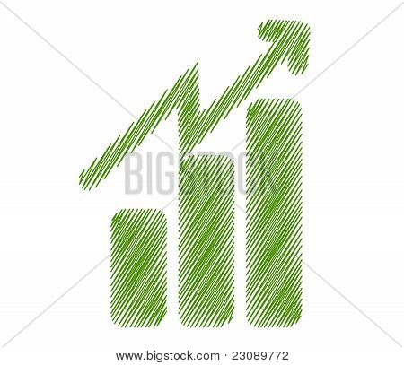 illustration of growth progress symbol with isolated on green background poster