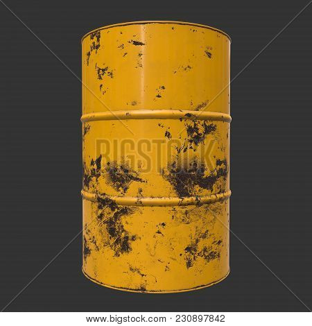 Old Rust Metal Barrel Oil On Black Background. 3d Render Illustration