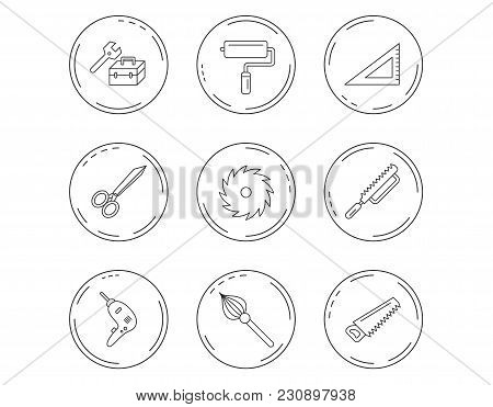Scissors, Paint Roller And Repair Tools Icons. Fretsaw, Circular Saw And Brush Linear Signs. Triangu