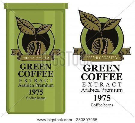 A Tin Can With Label For Green Coffee Extract. Vector Label For Green Coffee With Coffee Bean And In