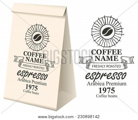 Paper Packaging With Label For Coffee Beans. Vector Label For Coffee With Coffee Bean, Pencil Drawin