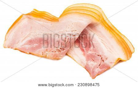 Sliced Bacon Isolated On White Background Cutout.