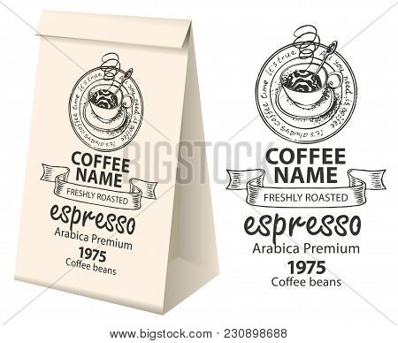 Paper Packaging With A Label For Coffee Beans. Vector Label For Coffee With The Pencil Drawing Cup O