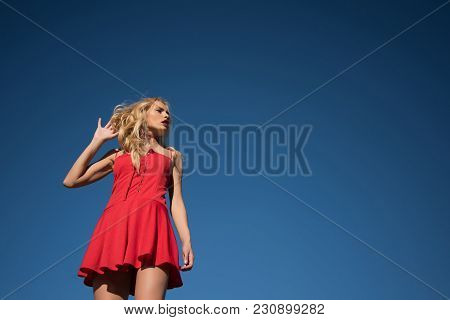 Girl With Sexy Legs, Loneliness. Beauty And Fashion, Look. Freedom And Expectation. Woman With Blond