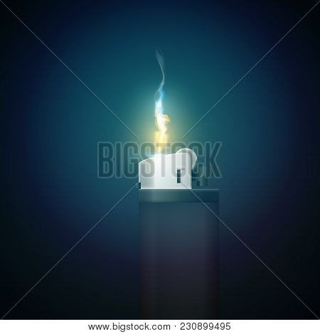 Realistic Gas Lighter Template With Burning Flame On Dark Background Isolated Vector Illustration