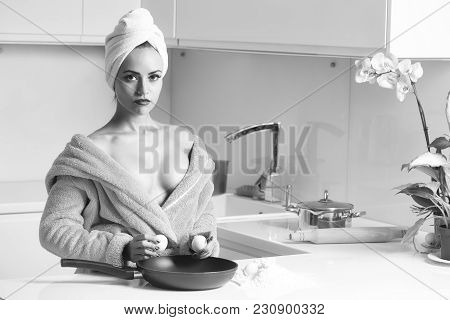 One Sexual Beautiful Sensual Female Housewife In Blue Terry Dressing Gown And Towel Turban On Head W