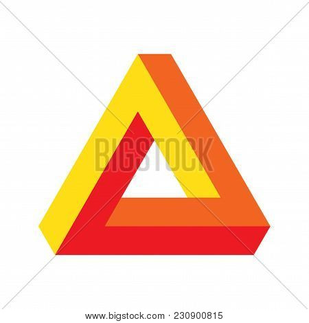 Vector Optical Perspective Illusion Illustration: Penrose Triangle, Well Known Impossible Figure Or
