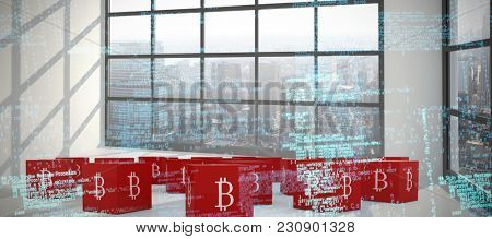 Composite image of binary codes against room with large window showing city