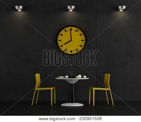 Black And Yellow Coffee Room With Table,chair And Big Clock - 3d Rendering