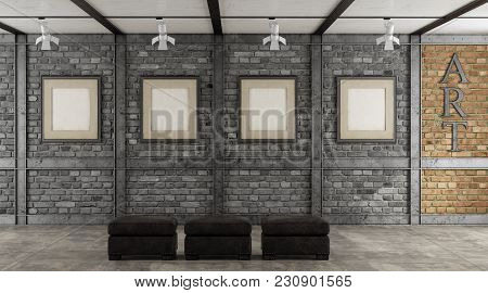 Art Gallery In A Loft With Blank Frame On Black Brick Wall - 3d Rendering