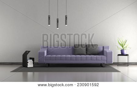 Minimalist Living Room With Purple Sofa - 3d Rendering