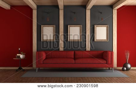 Red And Gray Elegant Living Room With Fabric Sofa And Wooden Beams - 3d Rendering