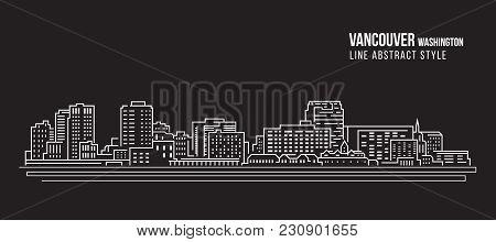 Cityscape Building Line Art Vector Illustration Design - Vancouver City Washington