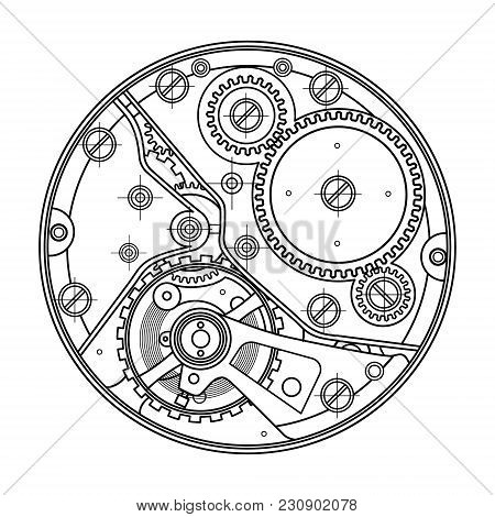 Mechanical Watches With Gears. Drawing Of The Internal Device. It Can Be Used As An Example Of Harmo
