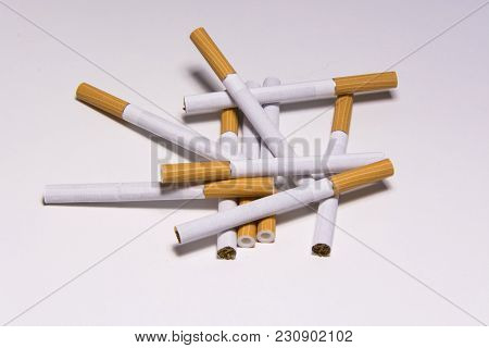 Cigarette On White Background, Unhealthy Lifestyle, Toxic Nicotine