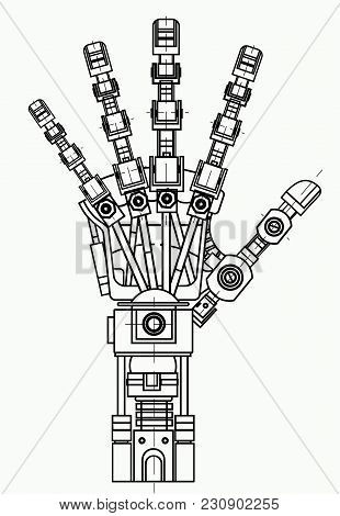 Robot Arm Drawing Model. It Can Be Used As An Illustration Of Robotics Ideas, Artificial Intelligenc