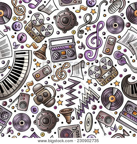 Cartoon Hand-drawn Musical Instruments Seamless Pattern. Lots Of Music Symbols, Objects And Elements