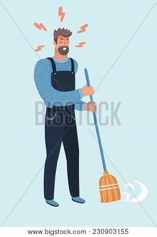 Vector Cartoon Illustration Of Angry Bearded Man With A Broom. Man Sweeping The Street Or Floor. Dep