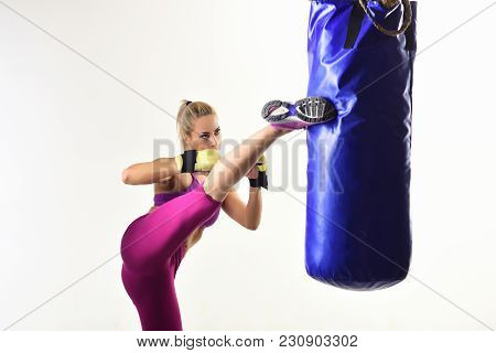 Woman Winner Athlete, Kick Boxing. Sport Coach In Gym With Punching Bag. Knockout, Energy, Sport Suc