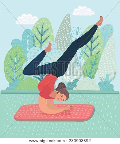 Vector Cartoon Illustration Of Cartoon Yoga Girl Posa. Asanas Pose. Fitness Characters On Park Lands