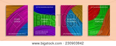Colorful Dynamic Backgrounds For Cover Design. Trendy Labels For Beautiful Packaging. Bright Saturat