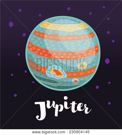 Vector Cartoon Illustatioon Of Stylized Planet Jupiter On Dark Space Background With Stars. Hand Dra