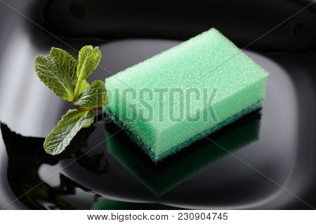 Black plate and dish sponge . Mint branch . Conceptual image on the theme of purity and freshness . poster