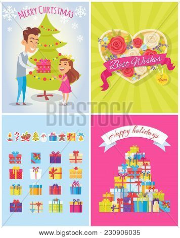 Best Wishes, Merry Christmas And Happy Birthday, Posters Dedicated To Celebration Of Holidays, With