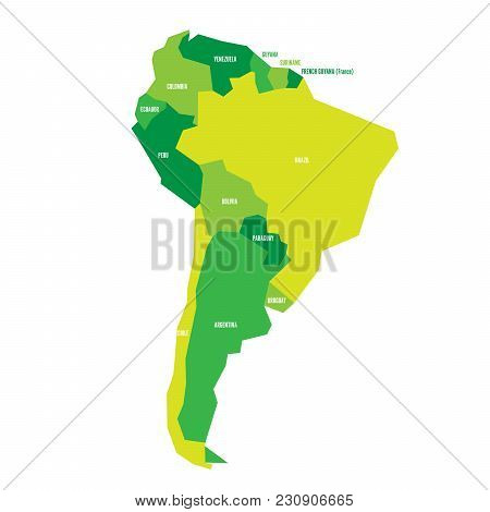 Very Simplified Infographical Political Map Of South America In Green Colors. Simple Geometric Vecto