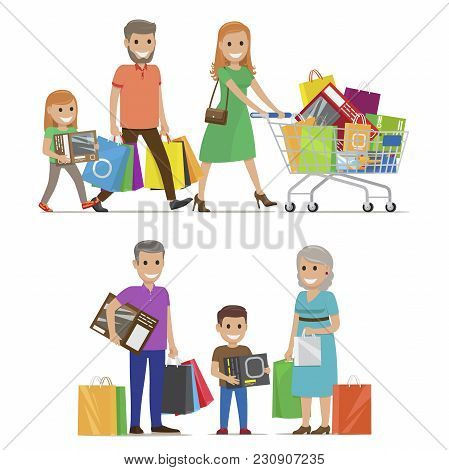 Family Out On Shopping Two Sets Includes Parents And Daughter With Cart And Grandparents And Grandso
