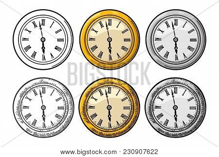 Watch. Vintage Vector Color And Black Engraving Illustration For Info Graphic, Poster, Web. Isolated