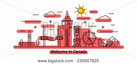 Canada Panorama. Canada Vector Illustration In Outline Style With Buildings And City Architecture. W