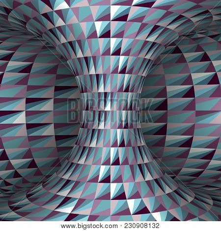 Faceted Polygonal Patterned Hyperboloid. Vector Optical Illusion Illustration.