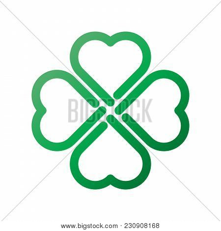 Shamrock - Green Gradient Thick Outline Four Leaf Clover Icon. Good Luck Theme Design Element. Simpl