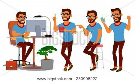 Business Man Character Vector. Working Hindu People Set. Office, Creative Studio. Bearded. Business