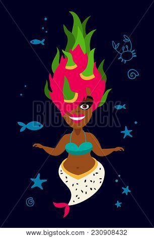 Beautiful Mermaid. Delicious Dragonfruit. Vector Illustration On A Dark Blue Background. Summer Prin