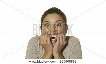 Head Portrait Of Young Crazy Happy And Excited Hispanic Woman 30s In Surprise And Astonish Face Expr