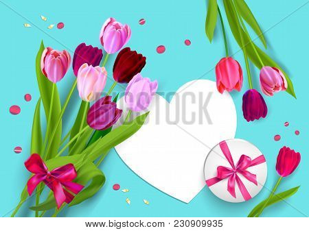 Realistic Vector Colorful Tulips Background. Spring Flowers And Holiday Card. Happy Mothers Day Fest