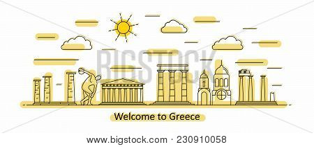 Greece Panorama. Greece Vector Illustration In Outline Style With Buildings And History Architecture