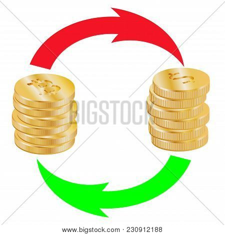 A Stack Of Bitcoins And A Stack Of Dollar Coins Are Exchanged Arrows
