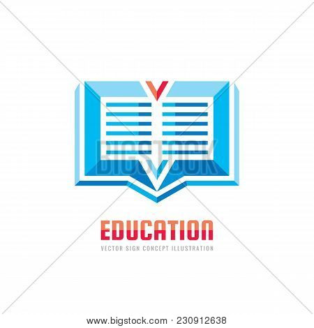 Library Book - Vector Business Logo Template. Education Sign Concept Illustration. Design Element.