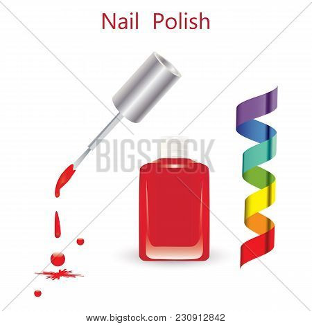 Nail Polish Glass Bottle Brush Drops Fall Multicolored Ribbon Isolated On White Background Art Vecto