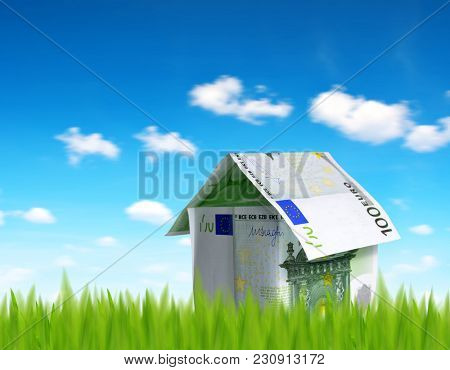House made from euro money in grass.