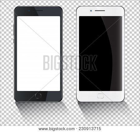 Smartphone Mockup Vector Illustration, Realistic White Mobile Phone With Empty Screen. On Transperen