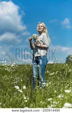 Spring, Woman In Chamomile Field. Sensual Woman In Blossoming Flower Field, Spring. Womens Day, Moth